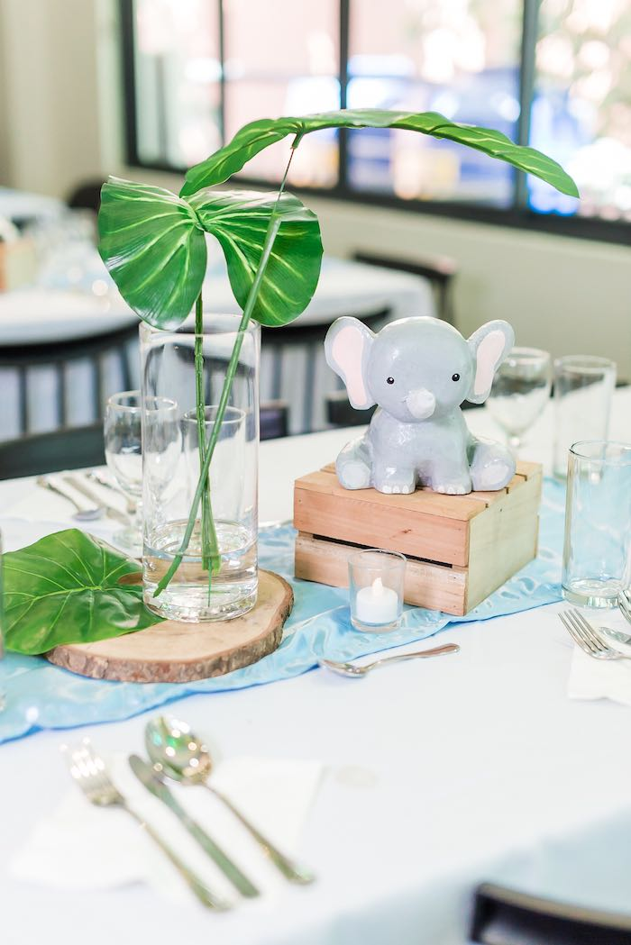 Elephant Guest Table + Centerpiece from a Jungle Safari Birthday Party on Kara's Party Ideas | KarasPartyIdeas.com (36)