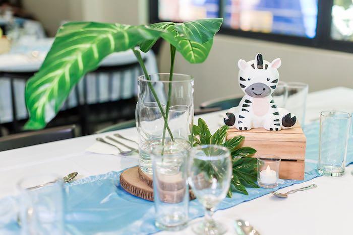 Zebra Guest Table + Centerpiece from a Jungle Safari Birthday Party on Kara's Party Ideas | KarasPartyIdeas.com (35)