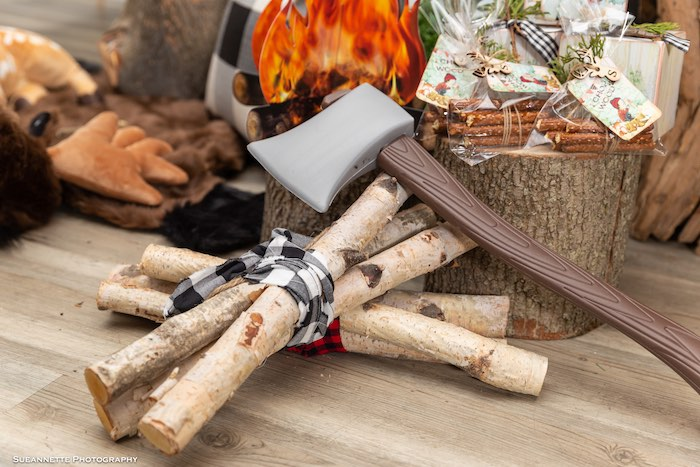Bundle of Sticks + Axe from a Little Lumberjack Camping Birthday Party on Kara's Party Ideas | KarasPartyIdeas.com (24)