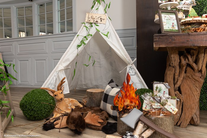 Lumberjack Lounge from a Little Lumberjack Camping Birthday Party on Kara's Party Ideas | KarasPartyIdeas.com (23)