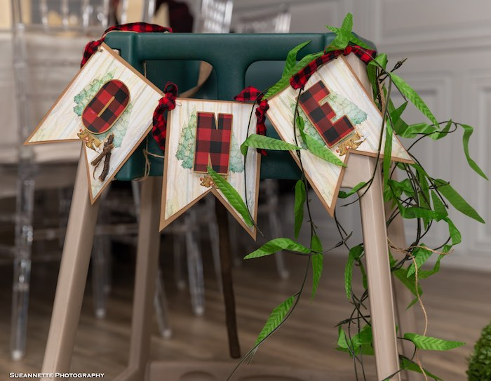 """Buffalo Plaid """"ONE"""" - Highchair Banner from a Little Lumberjack Camping Birthday Party on Kara's Party Ideas 