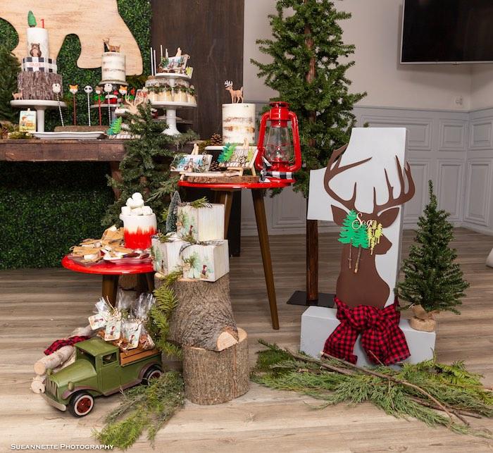 Rustic Dessert Pedestals + Decor from a Little Lumberjack Camping Birthday Party on Kara's Party Ideas | KarasPartyIdeas.com (17)