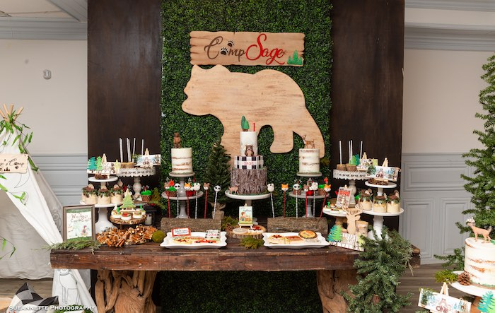 Rustic Wood Bear Dessert Table from a Little Lumberjack Camping Birthday Party on Kara's Party Ideas | KarasPartyIdeas.com (12)