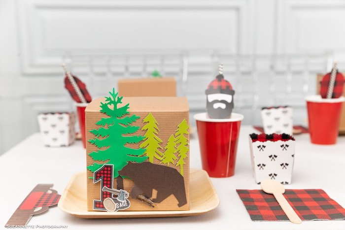 Camping Themed Lunch Box + Table Setting from a Little Lumberjack Camping Birthday Party on Kara's Party Ideas | KarasPartyIdeas.com (10)