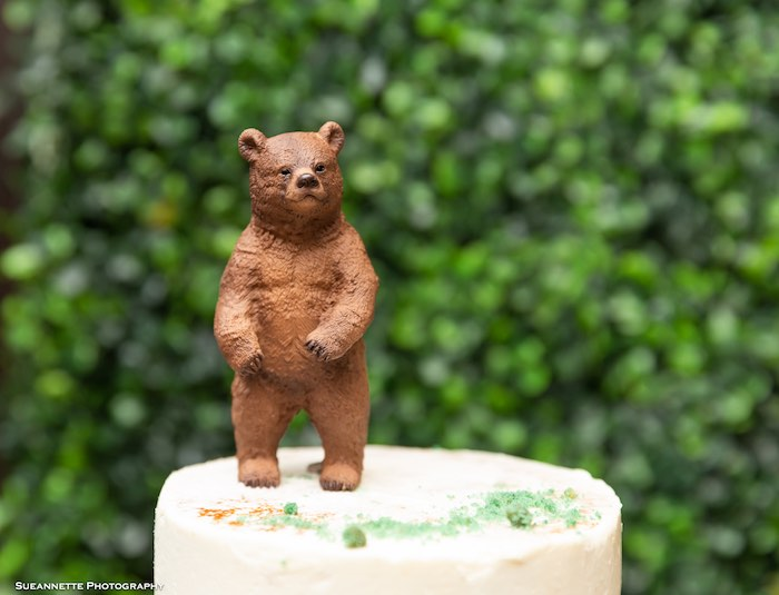 Bear Cake Topper from a Little Lumberjack Camping Birthday Party on Kara's Party Ideas | KarasPartyIdeas.com (9)