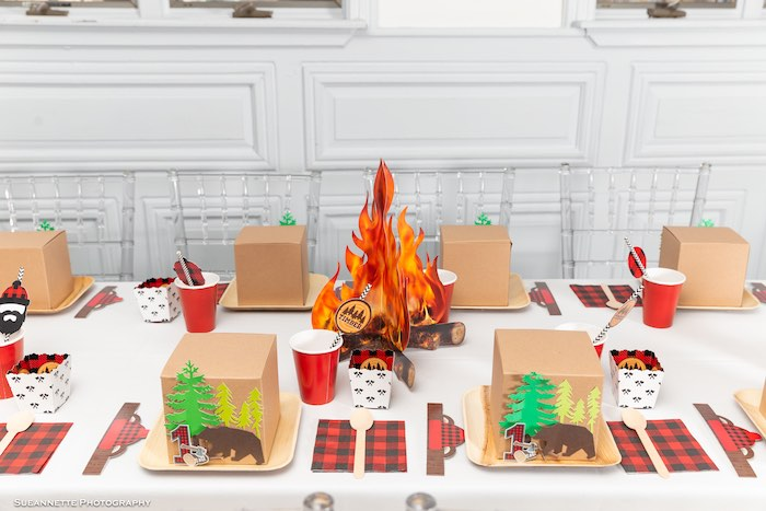 Camping Themed Guest Table from a Little Lumberjack Camping Birthday Party on Kara's Party Ideas | KarasPartyIdeas.com (35)