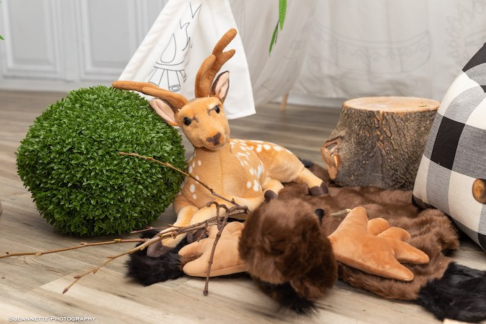 Plush Deer from a Little Lumberjack Camping Birthday Party on Kara's Party Ideas | KarasPartyIdeas.com (7)