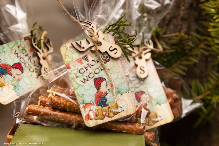 Pretzel Rod Favor Bags from a Little Lumberjack Camping Birthday Party on Kara's Party Ideas | KarasPartyIdeas.com (6)