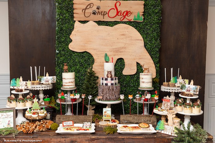 Wood Bear Dessert Table from a Little Lumberjack Camping Birthday Party on Kara's Party Ideas | KarasPartyIdeas.com (5)