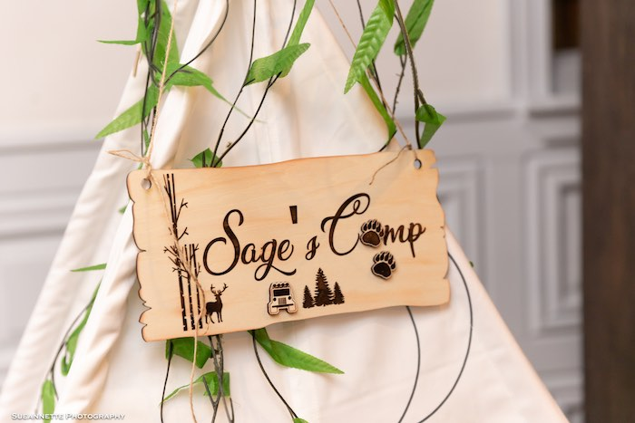 Wood-soldered Camp Sign from a Little Lumberjack Camping Birthday Party on Kara's Party Ideas | KarasPartyIdeas.com (3)