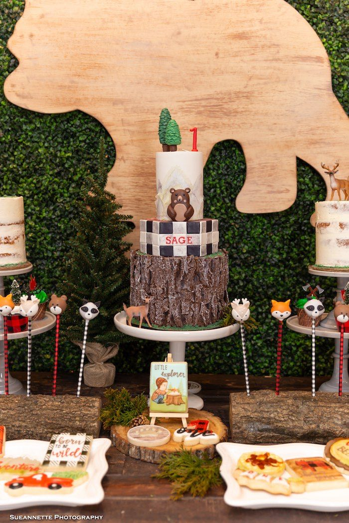 Wood Stump Cake from a Little Lumberjack Camping Birthday Party on Kara's Party Ideas | KarasPartyIdeas.com (34)