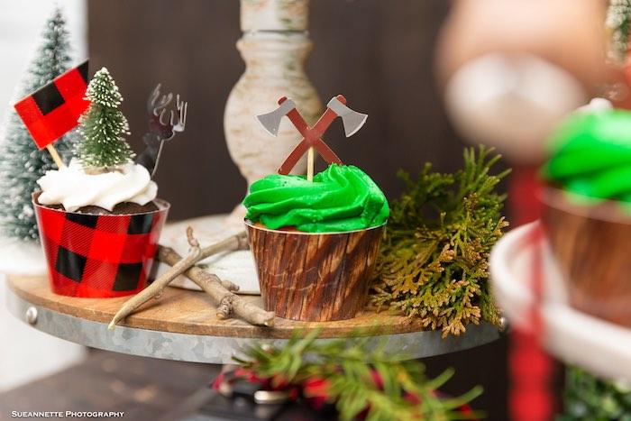 Lumberjack Cupcakes from a Little Lumberjack Camping Birthday Party on Kara's Party Ideas | KarasPartyIdeas.com (28)
