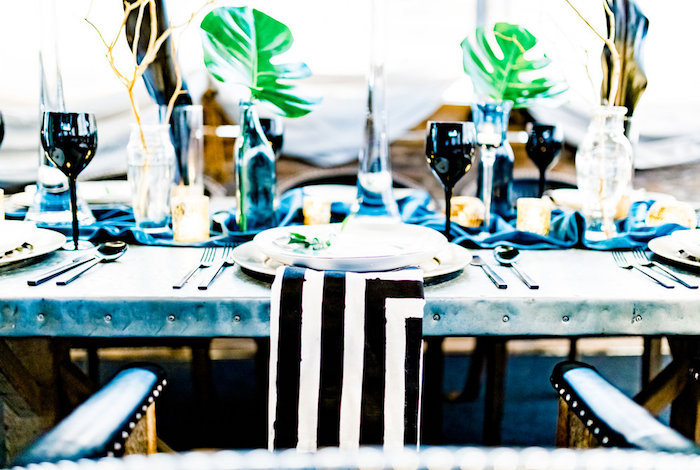 Tropical Table Setting from a Luxe Tropics Dinner Party on Kara's Party Ideas | KarasPartyIdeas.com (19)