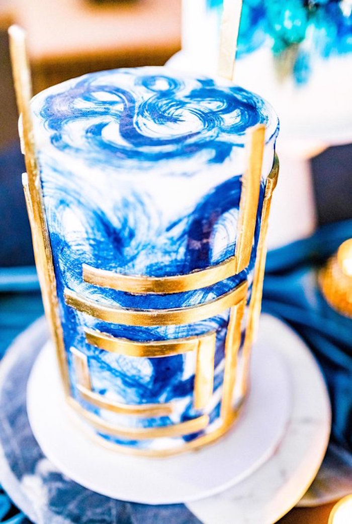 Brushed Blue Glam Cake from a Luxe Tropics Dinner Party on Kara's Party Ideas | KarasPartyIdeas.com (17)