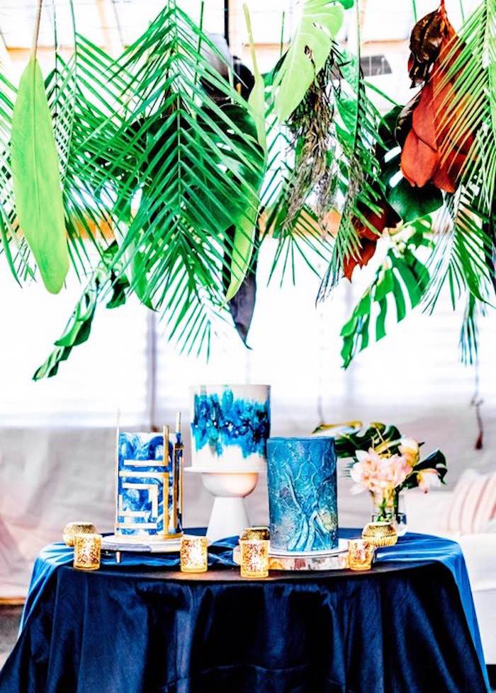 Tropical Glam Cake Table from a Luxe Tropics Dinner Party on Kara's Party Ideas | KarasPartyIdeas.com (15)