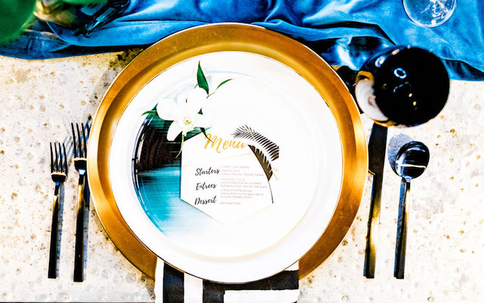 Glam Tropical Table Setting from a Luxe Tropics Dinner Party on Kara's Party Ideas | KarasPartyIdeas.com (13)