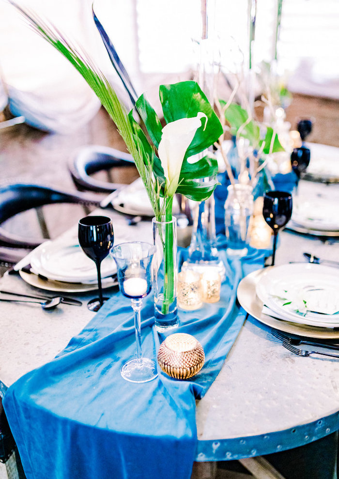 Tropical Party Table from a Luxe Tropics Dinner Party on Kara's Party Ideas | KarasPartyIdeas.com (22)