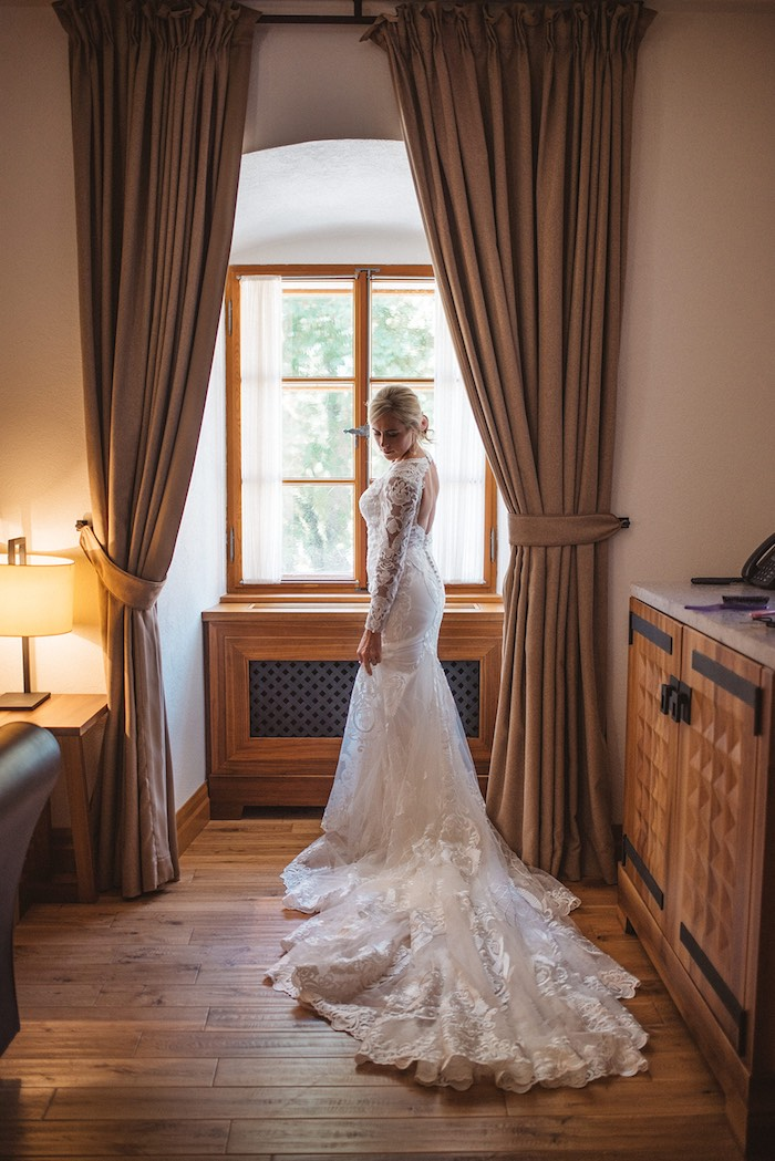 Beautiful Bride in Lace from a Luxury Castle Destination Wedding on Kara's Party Ideas | KarasPartyIdeas.com (6)