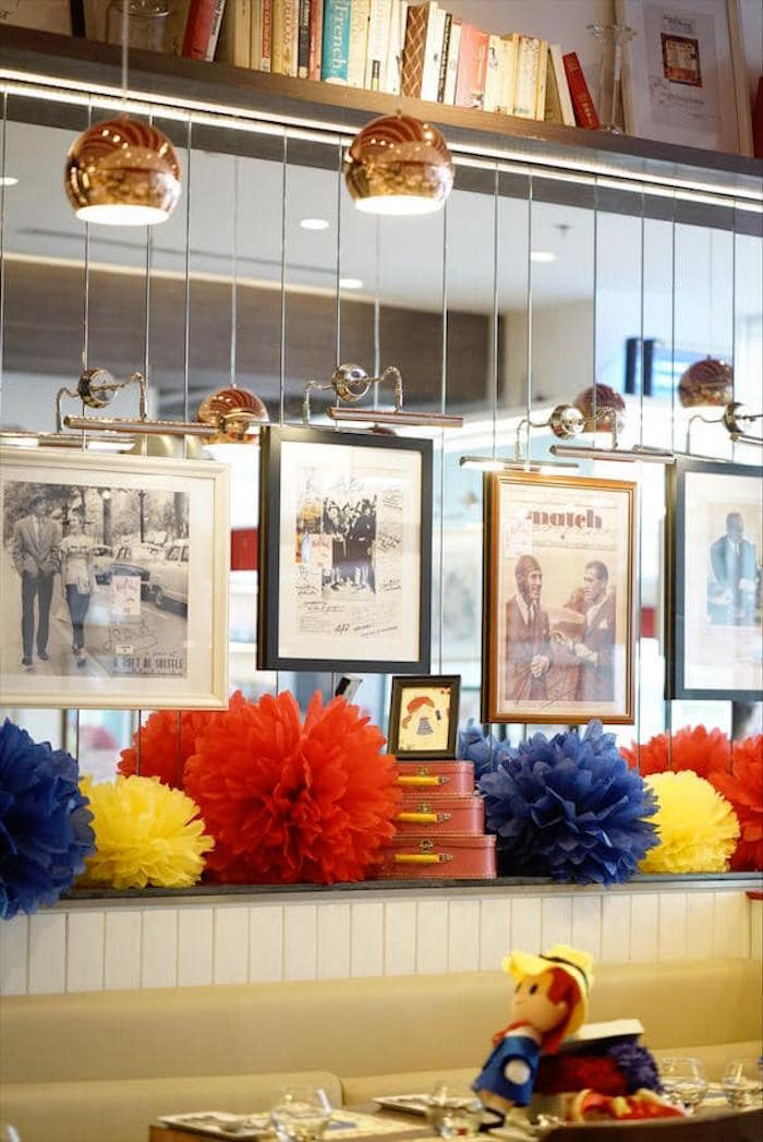 Framed Photos + Tissue Poms from a Madeline in Paris Birthday Party on Kara's Party Ideas | KarasPartyIdeas.com (18)