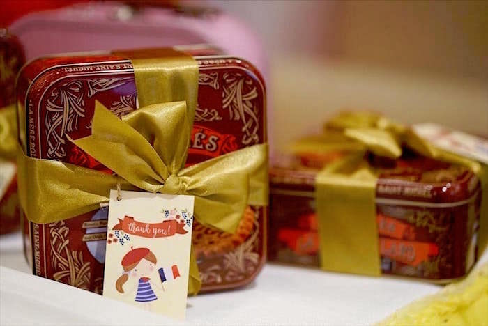 Madeleine Cookie Favor Tins from a Madeline in Paris Birthday Party on Kara's Party Ideas | KarasPartyIdeas.com (15)