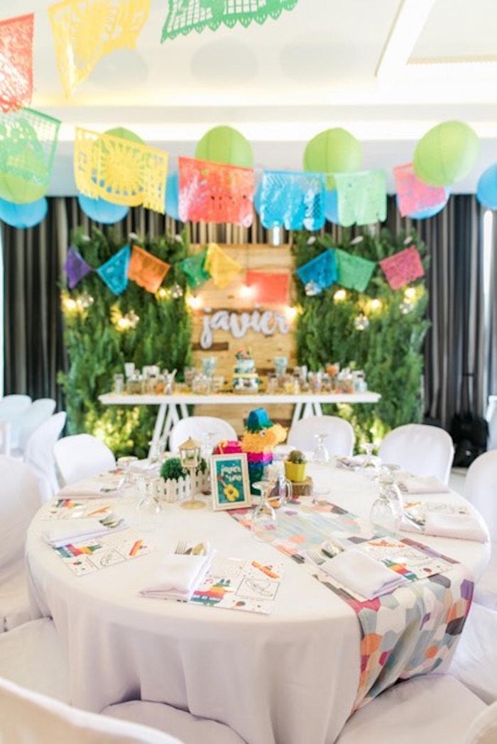 Fiesta Party Table from a Mexican Birthday Fiesta on Kara's Party Ideas | KarasPartyIdeas.com