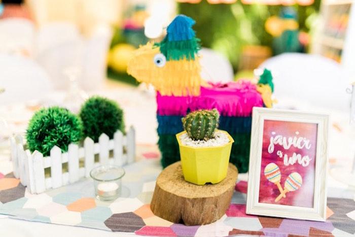 Fiesta Table Centerpiece from a Mexican Birthday Fiesta on Kara's Party Ideas | KarasPartyIdeas.com