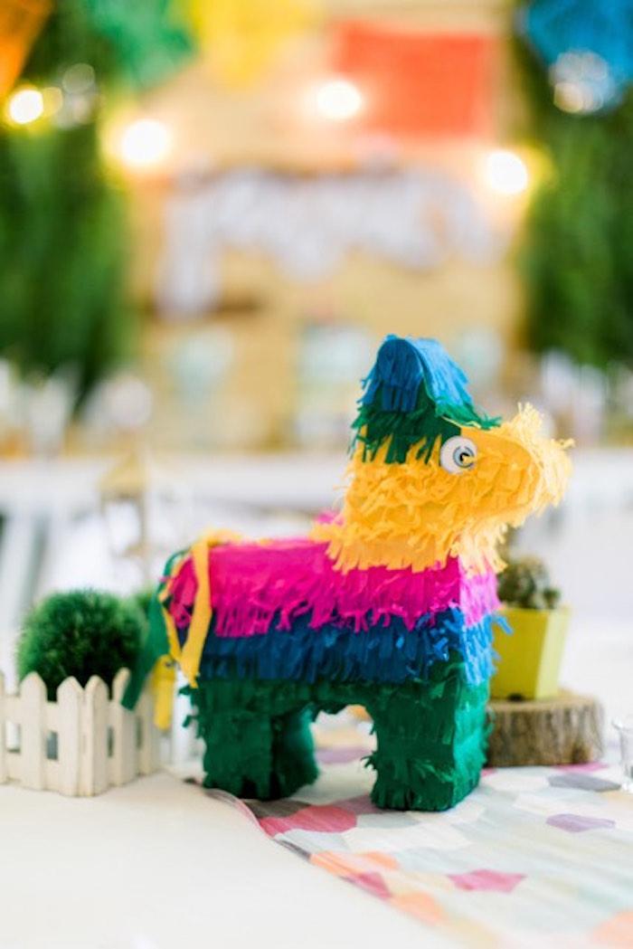 Llama Pinata Centerpiece from a Mexican Birthday Fiesta on Kara's Party Ideas | KarasPartyIdeas.com