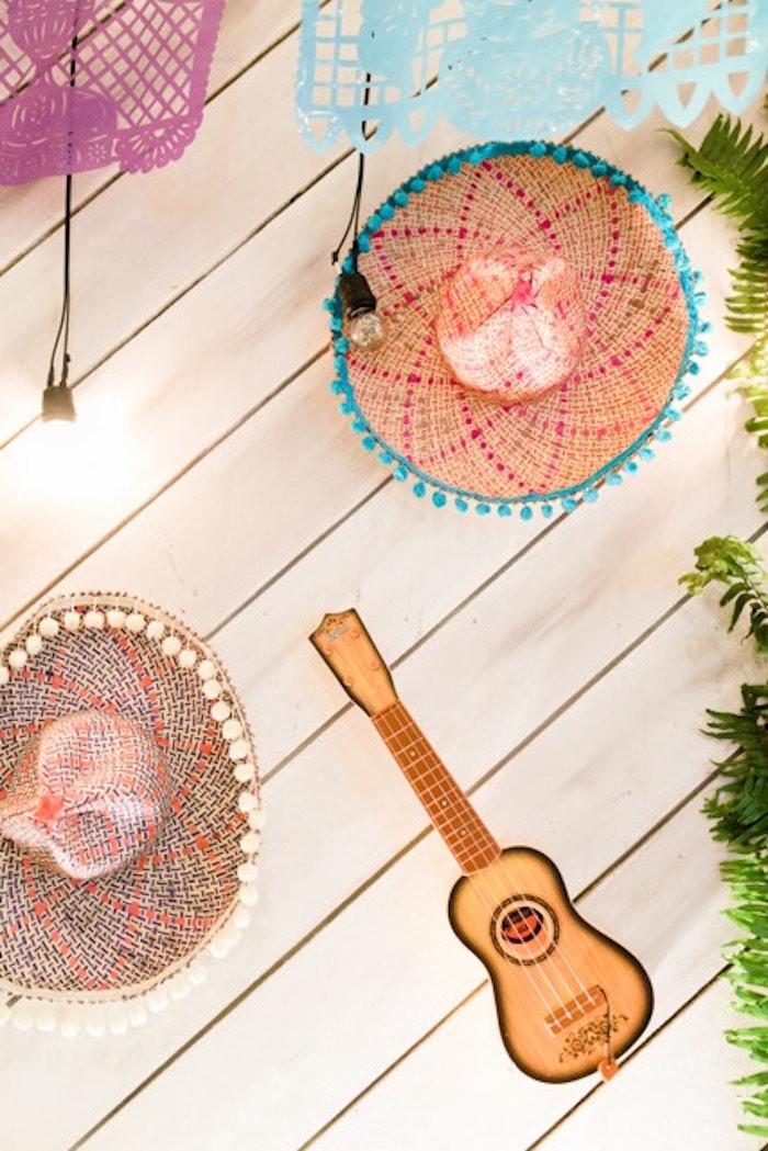 Sombrero + Guitar Backdrop from a Mexican Birthday Fiesta on Kara's Party Ideas | KarasPartyIdeas.com
