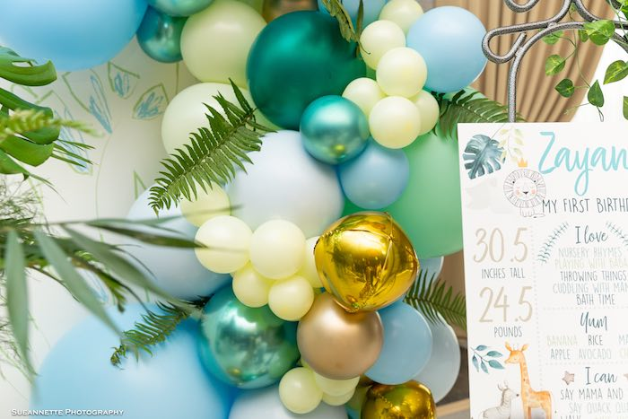 Balloon Installation from a Modern Jungle Birthday Party on Kara's Party Ideas | KarasPartyIdeas.com (9)