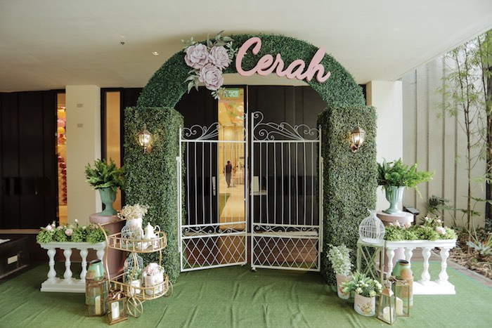 Garden Gate Entrance from a Paris Patisserie Birthday Party on Kara's Party Ideas | KarasPartyIdeas.com (23)