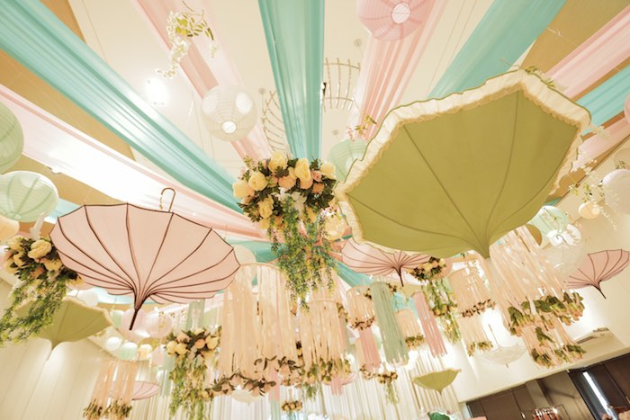 Umbrella + Bloom Ceiling from a Paris Patisserie Birthday Party on Kara's Party Ideas | KarasPartyIdeas.com (22)