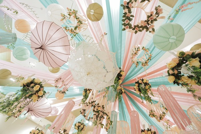 Umbrella + Bloom Ceiling from a Paris Patisserie Birthday Party on Kara's Party Ideas | KarasPartyIdeas.com (21)