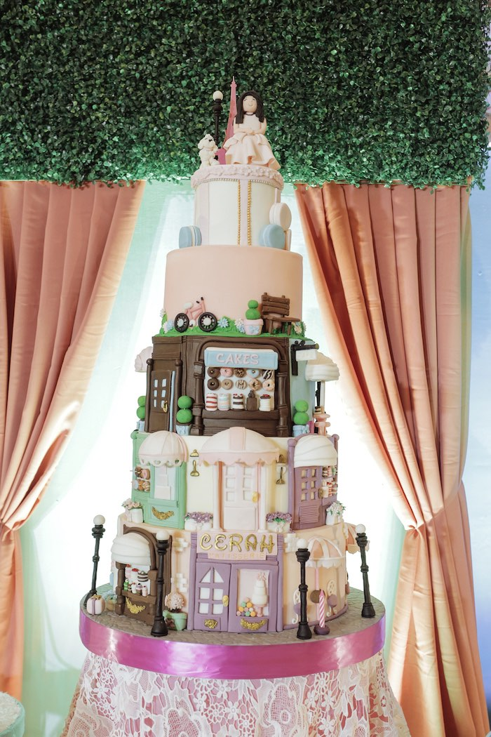 Paris Themed Cake from a Paris Patisserie Birthday Party on Kara's Party Ideas | KarasPartyIdeas.com (15)