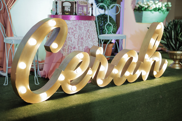 Script Marquee Light Name Sign from a Paris Patisserie Birthday Party on Kara's Party Ideas | KarasPartyIdeas.com (9)