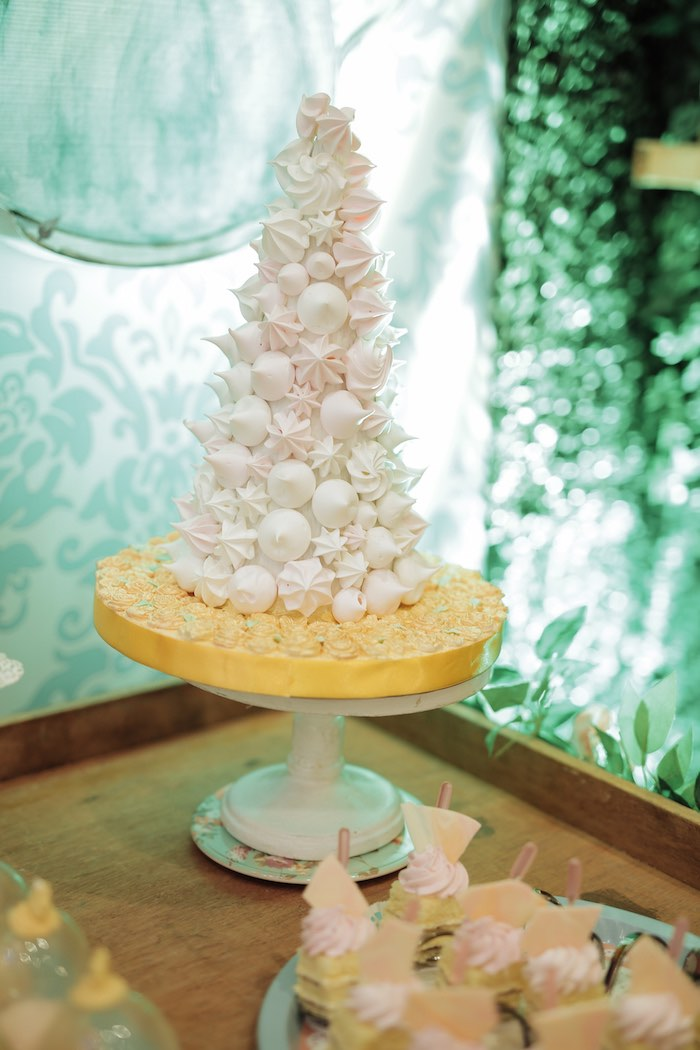 Meringue Kiss Tower from a Paris Patisserie Birthday Party on Kara's Party Ideas | KarasPartyIdeas.com (8)