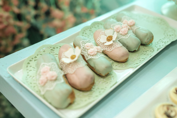 Flower & Lace-topped Eclairs from a Paris Patisserie Birthday Party on Kara's Party Ideas | KarasPartyIdeas.com (6)