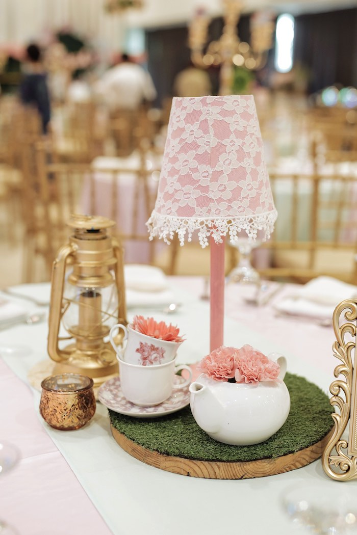 Pink Lace Lamp + Tea Kettle Bloom Table Centerpiece from a Paris Patisserie Birthday Party on Kara's Party Ideas | KarasPartyIdeas.com (31)