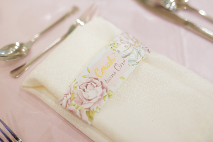 Floral Napkin Band from a Paris Patisserie Birthday Party on Kara's Party Ideas | KarasPartyIdeas.com (28)