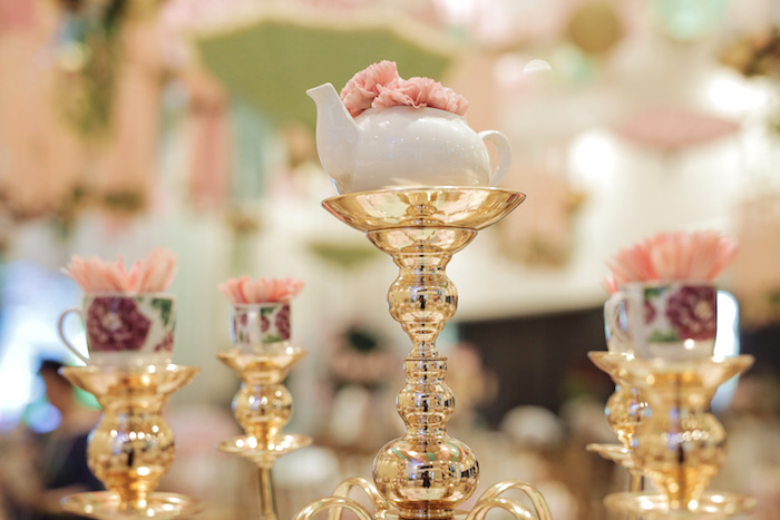 Candleabra Tea Kettle + Bloom Centerpiece from a Paris Patisserie Birthday Party on Kara's Party Ideas | KarasPartyIdeas.com (27)