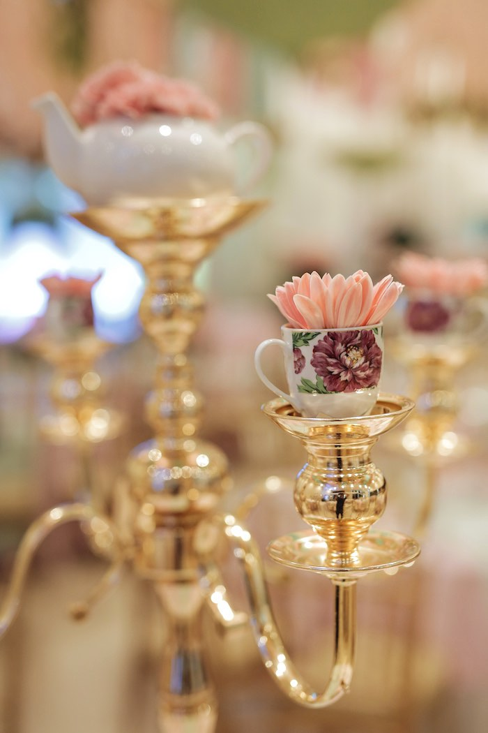 Candleabra Tea Cup Bloom Centerpiece from a Paris Patisserie Birthday Party on Kara's Party Ideas | KarasPartyIdeas.com (26)