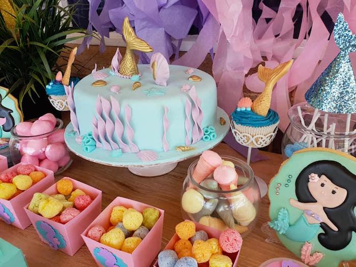 Mermaid Themed Under the Sea Cake from a Pastel Mermaid Birthday Party on Kara's Party Ideas | KarasPartyIdeas.com (11)