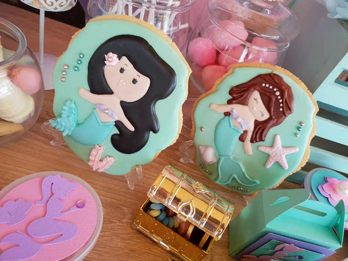 Mermaid Cookies from a Pastel Mermaid Birthday Party on Kara's Party Ideas | KarasPartyIdeas.com (10)