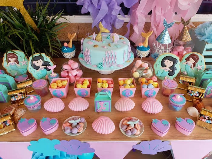 Mermaid Themed Dessert Table from a Pastel Mermaid Birthday Party on Kara's Party Ideas | KarasPartyIdeas.com (9)