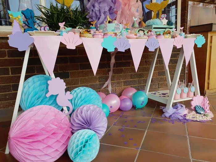Sea Shell Banner + Tissue Decorations from a Pastel Mermaid Birthday Party on Kara's Party Ideas | KarasPartyIdeas.com (6)