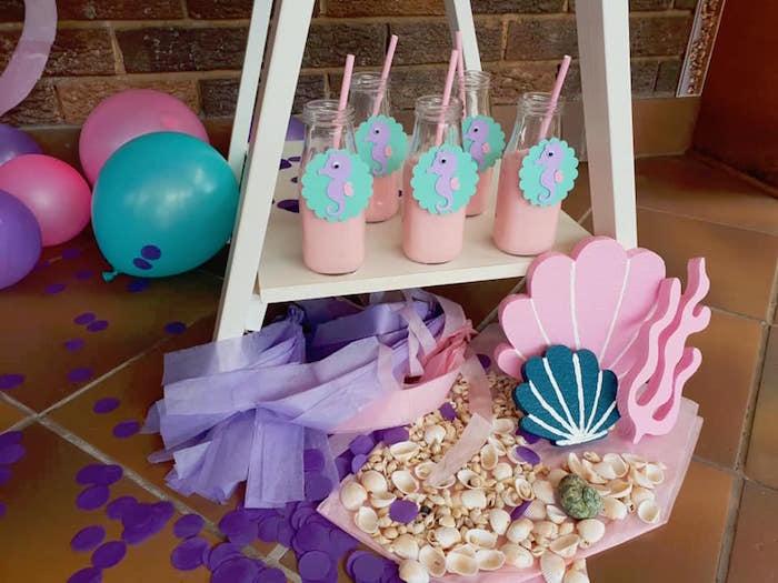 Sea Shells & Milk Bottles from a Pastel Mermaid Birthday Party on Kara's Party Ideas | KarasPartyIdeas.com (5)