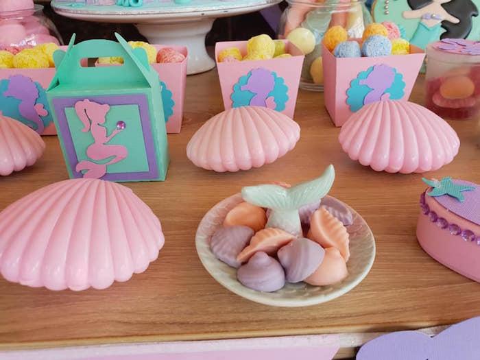 Sea Shells from a Pastel Mermaid Birthday Party on Kara's Party Ideas | KarasPartyIdeas.com (4)
