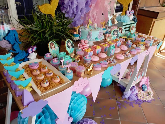 Under the Sea Sweet Table from a Pastel Mermaid Birthday Party on Kara's Party Ideas | KarasPartyIdeas.com (3)