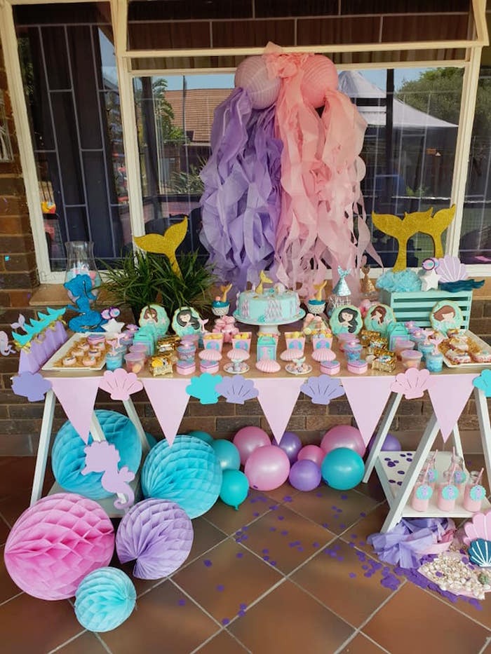 Mermaid-inspired Party Table from a Pastel Mermaid Birthday Party on Kara's Party Ideas | KarasPartyIdeas.com (15)