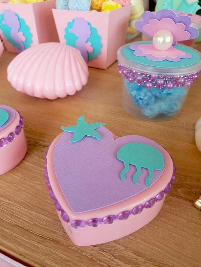 Under the Sea Heart Favor Box from a Pastel Mermaid Birthday Party on Kara's Party Ideas | KarasPartyIdeas.com (14)