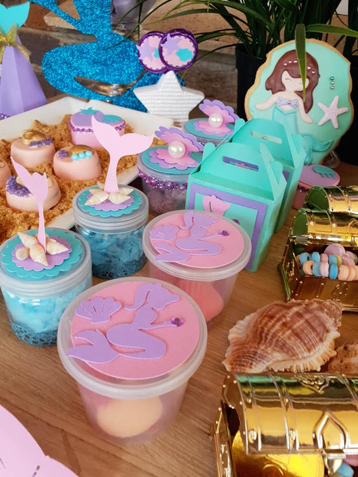 Mermaid-inspired Favors + Sweets from a Pastel Mermaid Birthday Party on Kara's Party Ideas | KarasPartyIdeas.com (13)